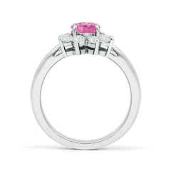 Toggle Tapered Shank Pink Sapphire and Diamond Flower Ring