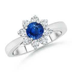 Tapered Shank Sapphire and Diamond Flower Ring
