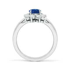 Toggle Tapered Shank Sapphire and Diamond Flower Ring