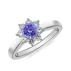 Tapered Shank Tanzanite and Diamond Flower Ring
