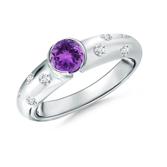 Semi Bezel Dome Amethyst Ring with Diamond Accents