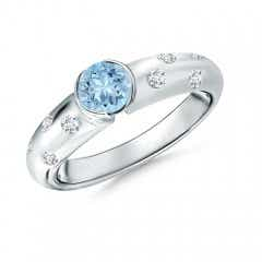 Semi Bezel Dome Aquamarine Ring with Diamond Accents