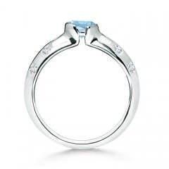 Toggle Semi Bezel Dome Aquamarine Ring with Diamond Accents