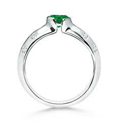 Toggle Semi Bezel Dome Emerald Ring with Diamond Accents