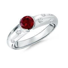 Semi Bezel Dome Garnet Ring with Diamond Accents