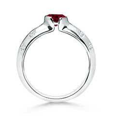 Toggle Semi Bezel Dome Garnet Ring with Diamond Accents