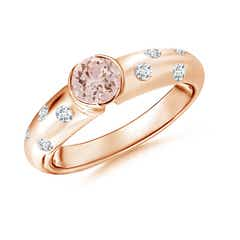 Semi Bezel Dome Morganite Ring with Diamond Accents