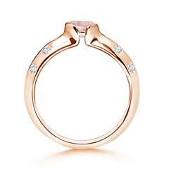 Toggle Semi Bezel Dome Morganite Ring with Diamond Accents