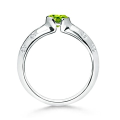 Toggle Semi Bezel Dome Peridot Ring with Diamond Accents