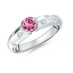 Semi Bezel Dome Pink Tourmaline Ring with Diamond Accents