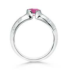 Toggle Semi Bezel Dome Pink Tourmaline Ring with Diamond Accents