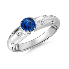 Semi Bezel Dome Blue Sapphire Ring with Diamond Accents