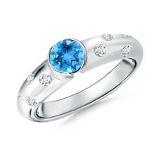 Semi Bezel Dome Swiss Blue Topaz Ring with Diamond Accents