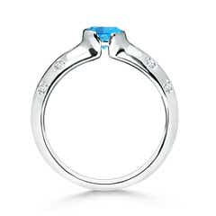 Toggle Semi Bezel Dome Swiss Blue Topaz Ring with Diamond Accents