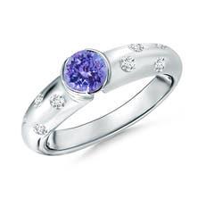 Semi Bezel Dome Tanzanite Ring with Diamond Accents