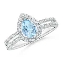 Pear Aquamarine and Diamond Halo Split Shank Ring