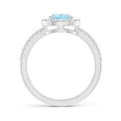 Toggle Pear Aquamarine and Diamond Halo Split Shank Ring