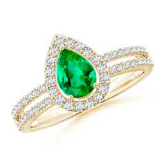 Pear Emerald and Diamond Halo Split Shank Ring