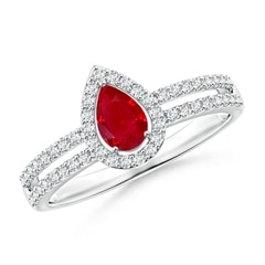 Angara Doule Halo Diamond Split Shank Ring bV1B5
