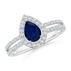 Pear Blue Sapphire and Diamond Halo Split Shank Ring
