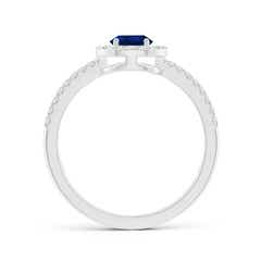 Toggle Pear Blue Sapphire and Diamond Halo Split Shank Ring