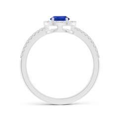 Toggle Pear Tanzanite and Diamond Halo Split Shank Ring