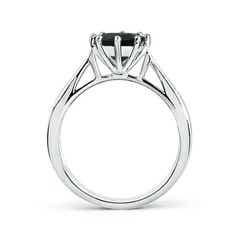 Toggle Tapered Shank Black Onyx Solitaire Ring with Diamonds
