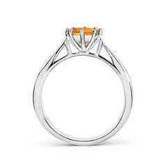 Toggle Tapered Shank Citrine Solitaire Ring with Diamonds