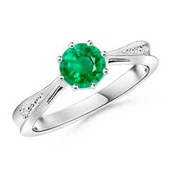 Tapered Shank Emerald Solitaire Ring with Diamond Accent
