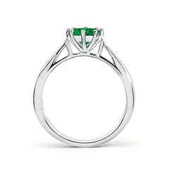 Toggle Tapered Shank Emerald Solitaire Ring with Diamonds