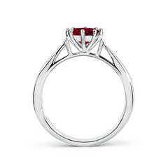 Toggle Tapered Shank Garnet Solitaire Ring with Diamonds