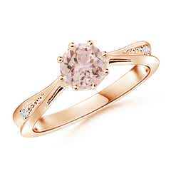 Tapered Shank Morganite Solitaire Ring with Diamonds