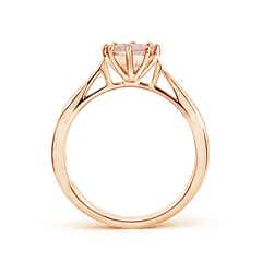 Toggle Tapered Shank Morganite Solitaire Ring with Diamonds