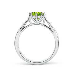 Toggle Tapered Shank Peridot Solitaire Ring with Diamonds