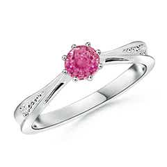 Tapered Shank Pink Sapphire Solitaire Ring with Diamond Accent