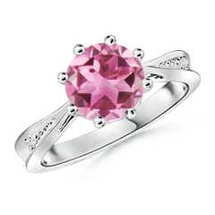 Tapered Shank Pink Tourmaline Solitaire Ring with Diamonds