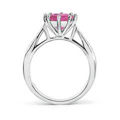Toggle Tapered Shank Pink Tourmaline Solitaire Ring with Diamonds
