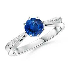 Tapered Shank Blue Sapphire Solitaire Ring with Diamonds