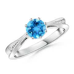 Tapered Shank Swiss Blue Topaz Solitaire Ring with Diamonds