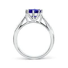 Toggle Tapered Shank Tanzanite Solitaire Ring with Diamonds