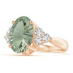 GIA Certified Oval Green Amethyst (Prasiolite) Ring with Trio Diamonds