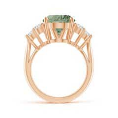 Toggle GIA Certified Oval Green Amethyst (Prasiolite) Ring with Trio Diamonds