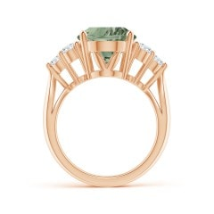 Toggle GIA Certified Oval Green Amethyst Ring with Trio Diamonds