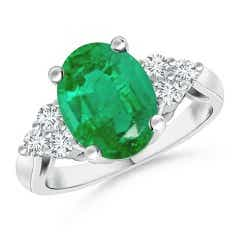 GIA Certified Oval Emerald Ring with Trio Diamonds