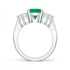 Toggle GIA Certified Oval Emerald Ring with Trio Diamonds