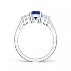 Toggle Oval Blue Sapphire Cocktail Ring With Trio Diamond Accents