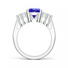 Toggle Oval Tanzanite Cocktail Ring With Trio Diamond Accents