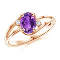 Split Shank Solitaire Oval Amethyst and Diamond Ring