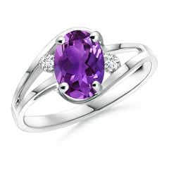 Amethyst and Diamond Split Shank Ring