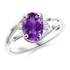 Amethyst and Diamond Split Shank Ring